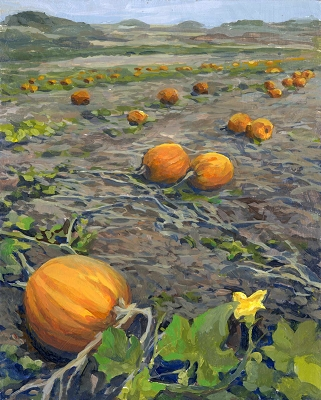 "Pumpkin Patch, 10""x 8"" Framed Original Painting"