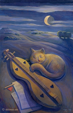 Sleeping Cat & Dulcimer Print, 18