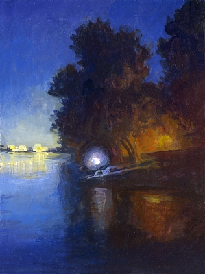 "Night River Study, 8""x6"" Framed Original Painting"
