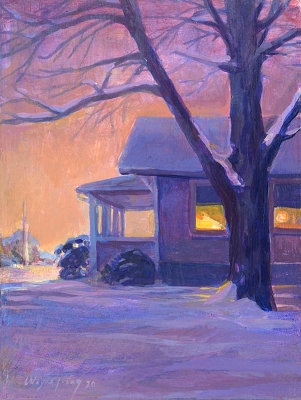 Snow Scene in Purple and Pink,  8