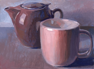 "Teapot and Mug Color Study #2, 6""x8"