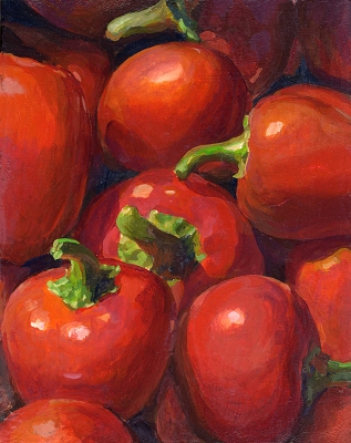 "Red Round Peppers, 10""x8"" Framed Original Demo Painting"