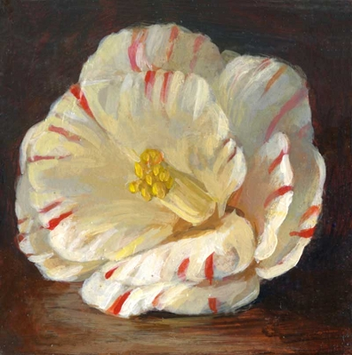 "White and Red Camellia, 3""x3"" Framed Original Painting"